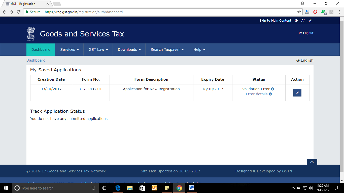 GST REGISTRATION - MY SAVED APPLICATIONS