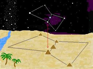 Pyramid in the shape of Orion constellation